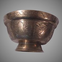 Heavy China Brass Bowl Decorative Sides Artistic Signature