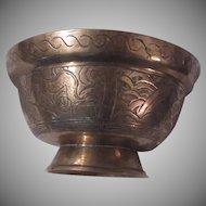 Heavy China Brass Bowl Decorative Sides Artistic Signature