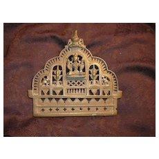 Old India Brass or Bronze Altar Piece Buddha Shiva Yoga Hindu Metalwork Art