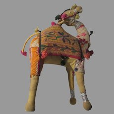 Old Indian Cloth Fabric Camel Animal Doll Figure
