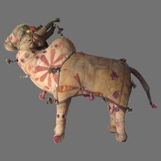Old Indian Cloth Fabric Bull Cow Animal Doll India