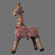 Old Indian Cloth Fabric Llama Giraffe Animal Doll
