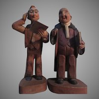 Two Anri Hand Carved Figures Lawyer Teacher