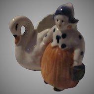 Occupied Japan Swan And Dutch Girl Figurine Vase Planter