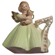 Josef Happy 7th Birthday Girl Figurine Angel Wings Original tags