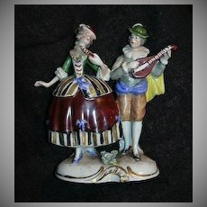Rudolstadt Germany Ernst Bohne Sohne Capodimonte Style  Figurine Couple Courting Musician Figures Fine Porcelain