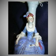 Fabulous Germany Porcelain or Ceramic Lamp Elegant Lady Gathered Shade Ribbon Flowers Rare Old German Figurine Lighting