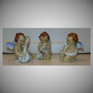Set 3 Old Japan Cherubs Angel Band Musician Figurines Fine Porcelain Ceramic Babies