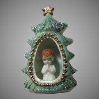 Old Bone China Praying Child In Christmas Tree Figurine