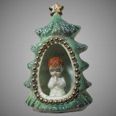 Old Bone China Praying Child In Christmas Tree Figurine