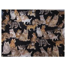 Cat Kitten Print Cotton Fabric Vintage