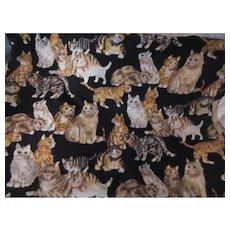 Cat Kitten Print Cotton Fabric Vintage