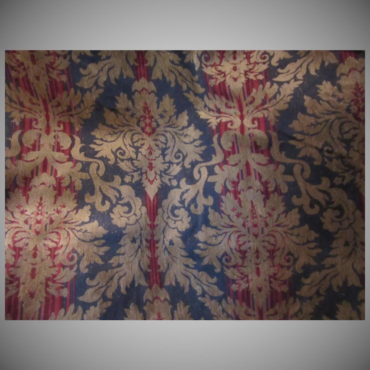 Blue Red Gold Cut Velvet Style Upholstery Fabric Vintage Antiques