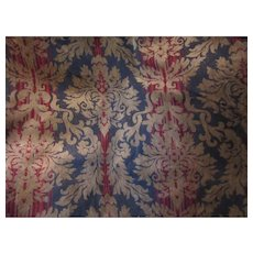 Blue Red Gold Cut Velvet Style Upholstery Fabric Vintage