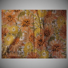 Vera Cotton Floral Fabric or Tablecloth Yellow Flowers