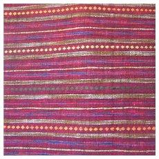 Fuschia Red Stripe Raw Silk Fabric