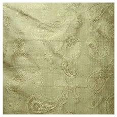 Golden Beige Pure Silk Paisley Weave Fabric 2.5 Yds