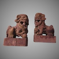 Pair Old Wood Foo Dogs Large Oriental Statues