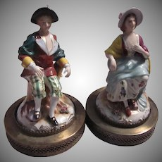 Pair Old Porcelain Figurines Brass Bases