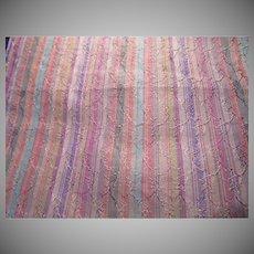 Many Colors Stripes Silk Fabric 2.5 Yards Vintage Fabrics