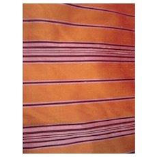 Bright Gold Pure Silk  Dupioni With Dark Purple Stripe 4+ Yards Vintage Fabric