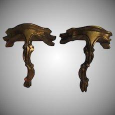 Pair Florentine Italian Gold Gilt  Wall Shelves Decorative Shelf