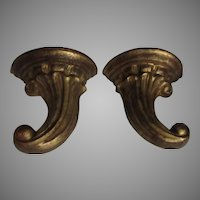 Pair Florentine Italian Wall Shelves Platforms