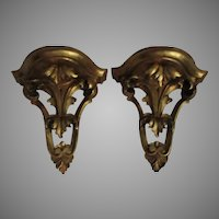 Pair Ornate Italian Florentine Gold Gilt Wall Shelves Platforms
