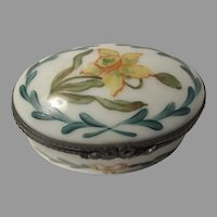 Limoges Rochard Hand Painted Pill Trinket Jewelry Box Jonquil France