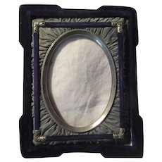 Antique Picture Frame Velvet Silk Metal