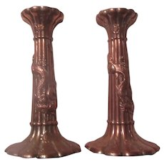 Pair Old Asian Chinese Candle Holders With Dragons Candlesticks