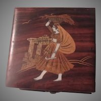 India Wood Box Inlay Woman Harvesting