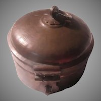 Old Middle Eastern Round Metal Box Container
