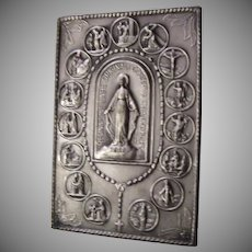 Virgin Mary Miraculous Medal Stations of Cross Pocket Icon
