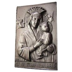 Our Lady Perpetual Help Pocket Icon Medal Plaque Case Prayer