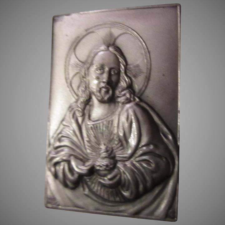 Jesus Sacred Heart Pocket Icon Medallion Plaque Case Prayer