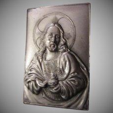 Jesus Sacred Heart Pocket Icon Medallion Plaque case Prayer