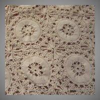 Hand Crochet Cotton Ecru Tablecloth