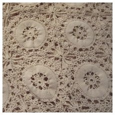 Hand Crochet Cotton Ecru Tablecloth