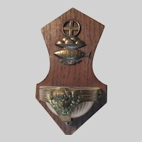 Germany Holy Water Font Cross Loaves Fishes