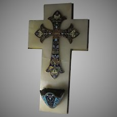 French Champleve Enamel Cross & Marble Holy Water Font  Christianity Religious Sacramental