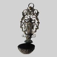 Virgin Mary Figure Old Ornate French Holy Water Font