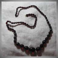 Old Cherry Amber Beads Long Necklace Fine Jewelry