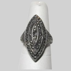 Sterling Silver Ring With Marcasites Elegant Size 6