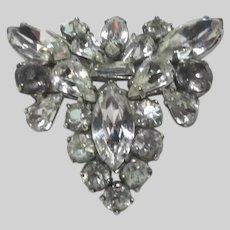Triangular Old Rhinestone Brooch Pin