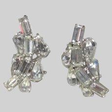 Lovely Old Rhinestone Clip Earrings