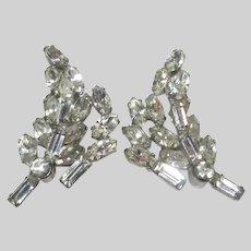 Graceful Old Rhinestone Clip Earrings