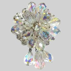 Iridescent Aurora Crystals Brooch Pin With Dangles