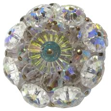 Iridescent Glass Crystal Rosettes Brooch Pin
