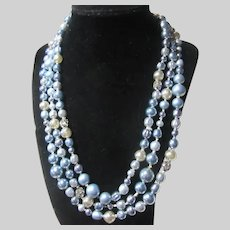 Blue Silver White Very Long Beads Necklace Japanese